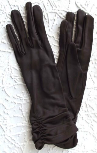 Vintage ladies nylon gloves 1950s UNUSED Portuguese brown ruched Size 6.5 or 7
