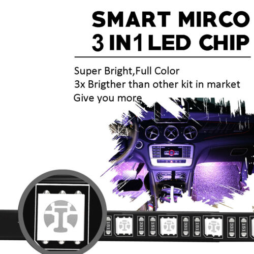 LED Glow Interior Car Kit Under Dash Footwell Seats Inside Lighting Music Sync