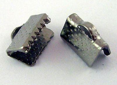 lot 50 attaches ruban pince fermoir griffe embout noir gris bijoux 10x7 mm NEUF
