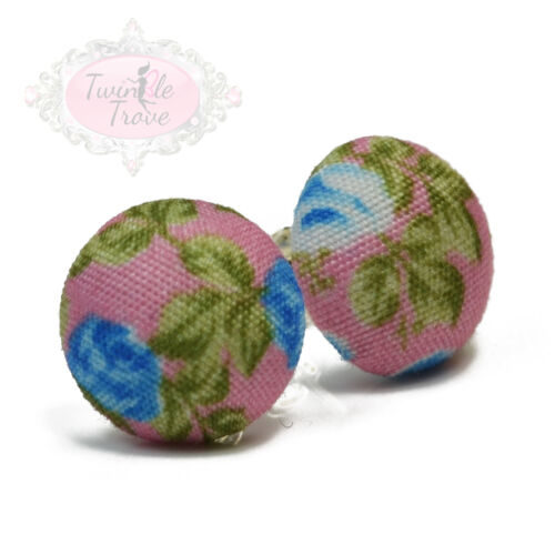 Vintage Rose Print Fabric Round Stud Earrings Shabby Chic Floral Fashion Style
