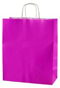 FUCHSIA TWISTED HANDLE KRAFT PAPER CARRIER BAGS