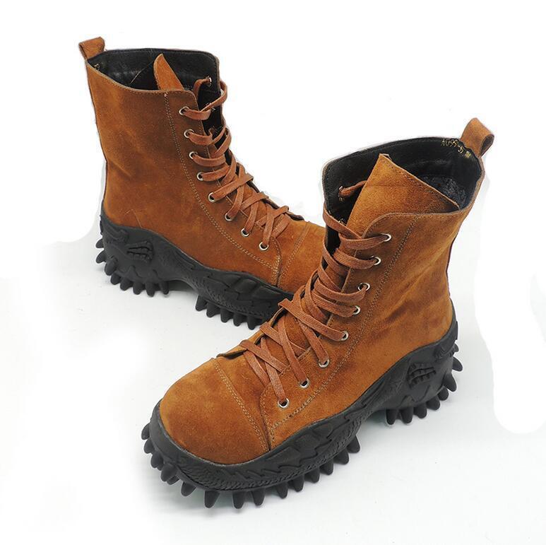 Mujer botas De Gamuza Cuero Combate Militares de alta Tops Con Cordones Zapatos De Invierno Ske15