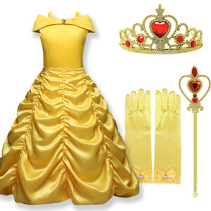 Image is loading UK-Belle-Girls-Fancy-Dress-Up-Beauty-and-  sc 1 st  eBay & UK Belle Girls Fancy Dress Up Beauty and the Beast Kids Child ...