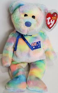 """RARE! TY Beanie Babies """"AUSSIEBEAR"""" the AUSTRALIA EXCLUSIVE Teddy Bear - MWMTs!"""