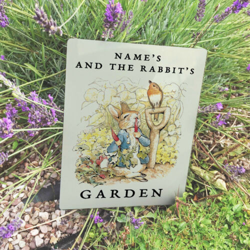 Personalised Peter Rabbit Garden VINTAGE ENAMEL METAL TIN SIGN WALL PLAQUE
