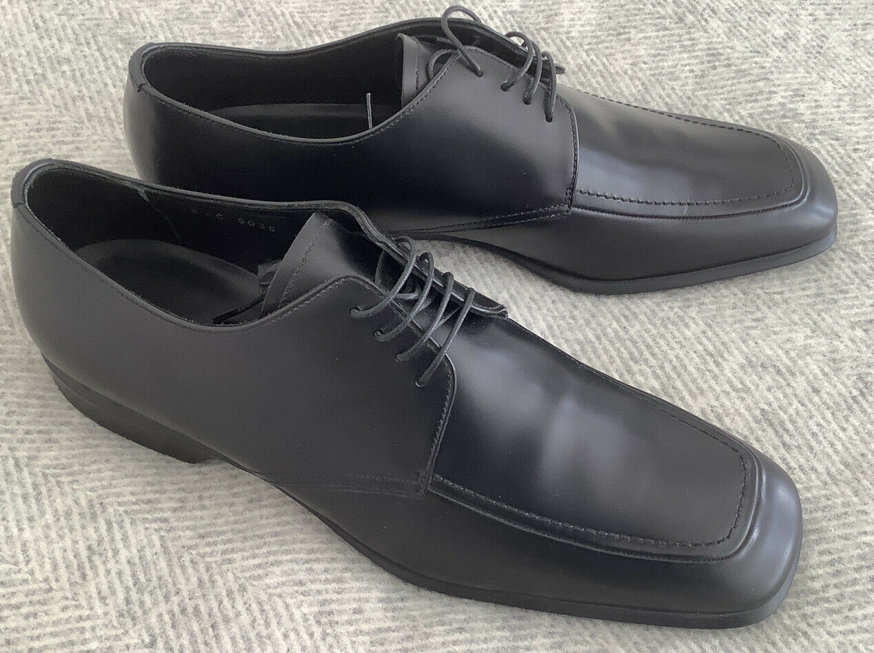 New Genuine Mens PRADA Leather Black Shoes Size UK 9.5