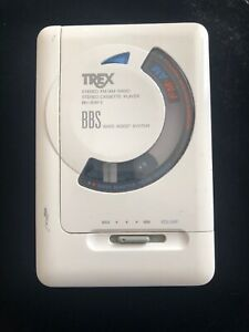 Seltene-weisse-Trex-bh-20afx-Walkman-Cassette-AM-FM-Radio-als-ist-Teile-Reparatur