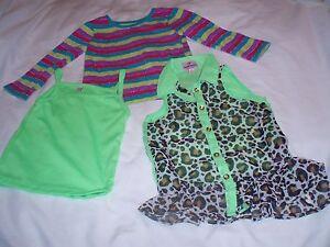 Lot-Of-3-Girl-039-s-Dollhouse-Garanimals-Summer-Tops-Leopard-Lime-Green-18-Months