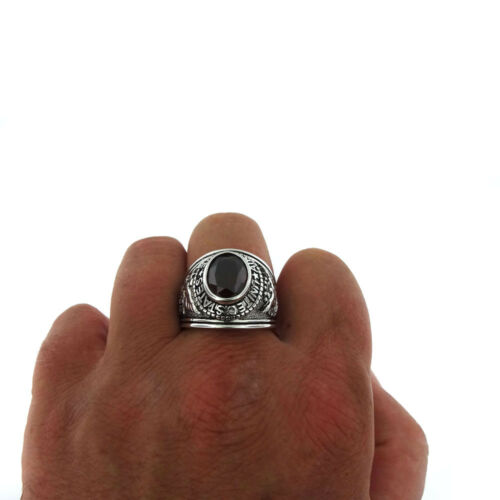 Red Stone US Air Force Military Rhodium EP Mens Ring