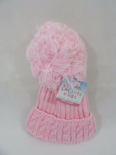 Baby Boys Girls Pink Grey Blue Cable Knit Pom Pom Knitted Winter Bobble Hat NB