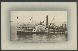 Nahant-MA-c-1907-10-Postcard-STEAMER-GENERAL-LINCOLN-Sidewheeler-at-Bass-Point