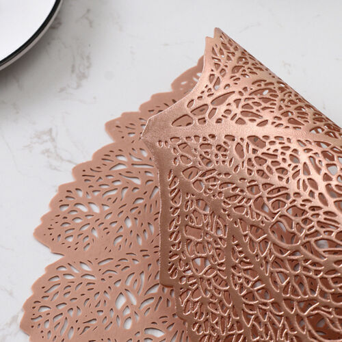 Set of 4 Leaf Placemats PVC Non-Slip Washable Dining Kitchen Table Place Mat