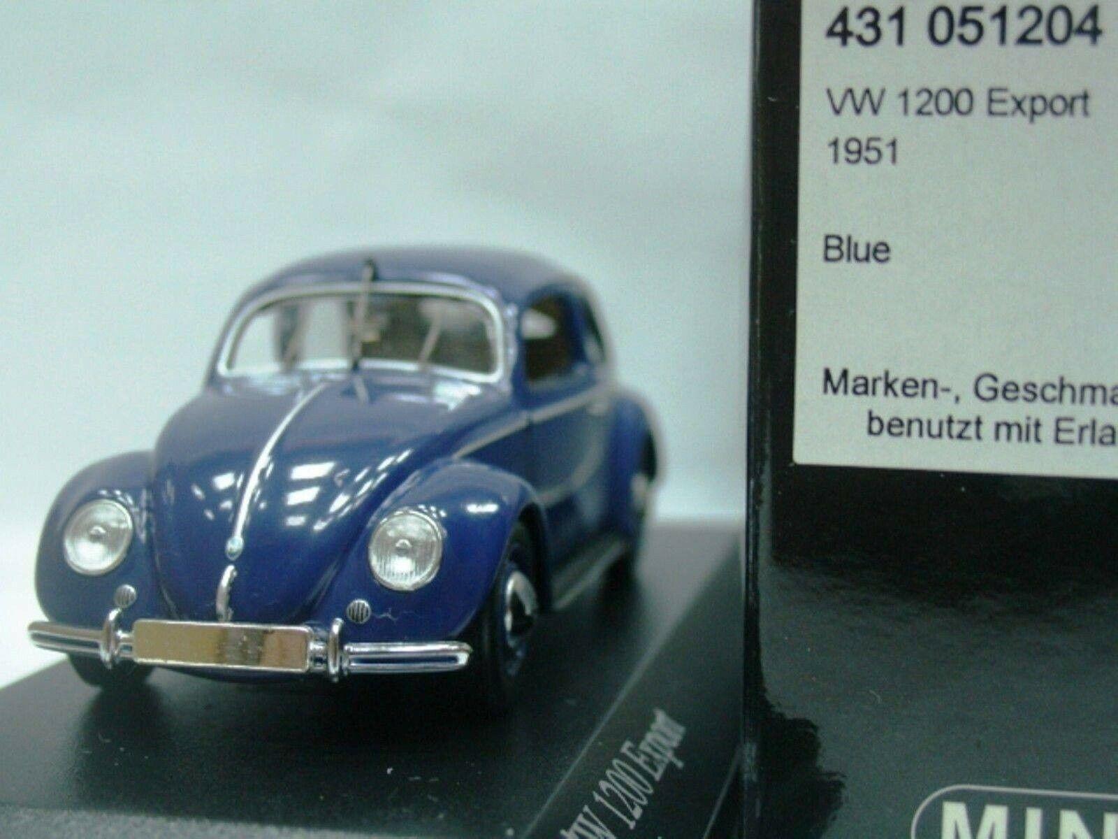 Wow extrêmement rare VW Beetle Käfer 1200 1951 S. Bleu Split Window 1 43 Minichamps