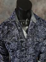 Mens Diamond Shirt Black And Deep Blue Florals Classic Fit Snap-up Pockets