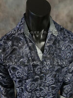 Mens Diamond Shirt Black And Deep Blue Florals Classic Fit Snap-up Pockets
