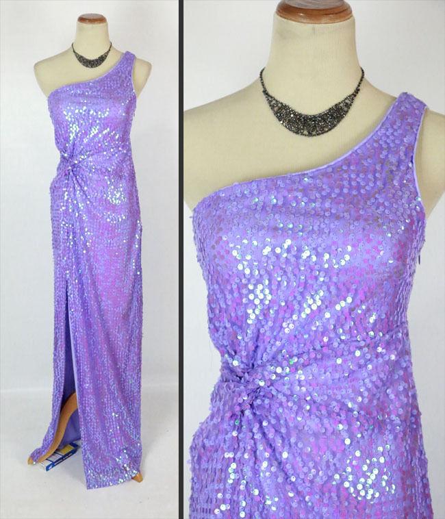 Morgan & Co  143 Evening Prom Formal Cruise Evening Dress size 1 shoulder purplec