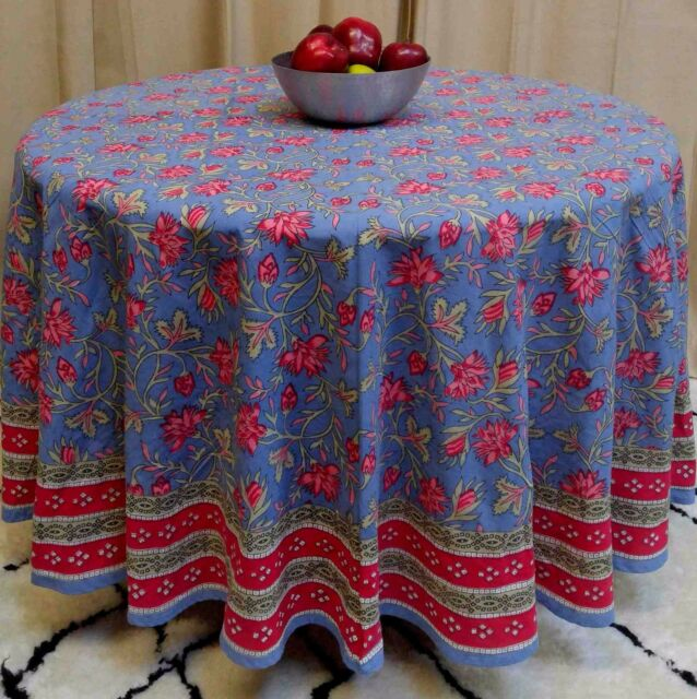 Handmade 100 Cotton Fl Tablecloth 90 Round Blue Red Pink