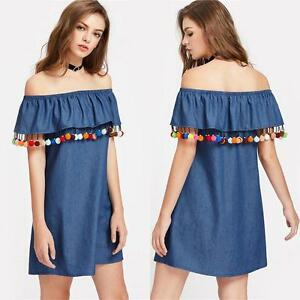 Women-Boho-Pom-Pom-Trim-Off-Shoulder-Ruffled-Sleeve-Denim-Dress-Beach-Sundress