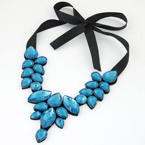 Multi Color Crystal Ribbon Pendant Chunky Choker Fashion Women Necklace Jewelry