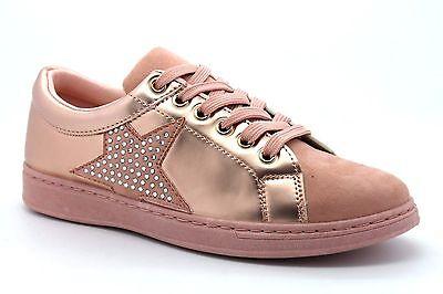 Bella detalle de estrellas para mujer UK 5 EU 38 rosa y champagne Informal Tenis Zapatillas Nuevo