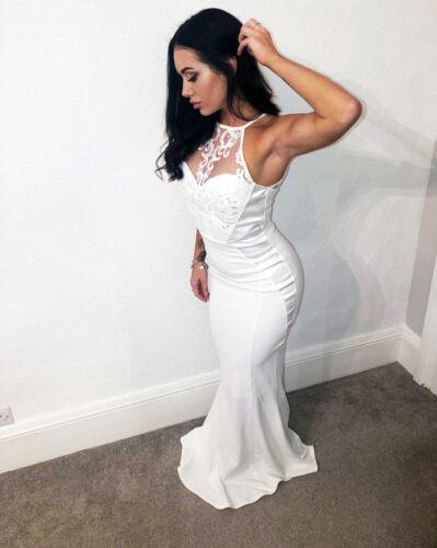 Quiz Ladies White Embellished Bridal Halter Dress Ballgown Evening RRP £89.99❤