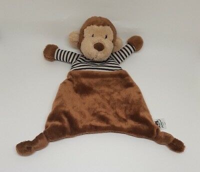 Doudou Plat JELLYCAT Peluche Stripey Singe Soother 23cm Marron Rayé Rayure NEUF