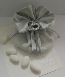 Bomboniere Complete Matrimonio.Sacchetto 25esimo Anniversario Matrimonio Confetti Argento
