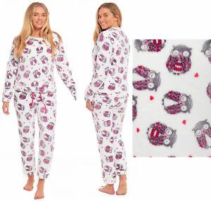 Détails sur Filles Flanelle Pyjama Polaire Enfants Chouette Rose Blanc Lounge Manche Longue