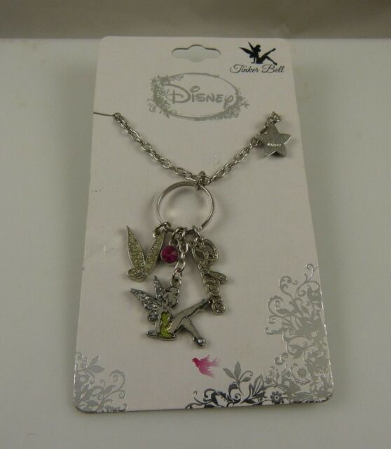 Disney Tinkerbell necklace charm style believe wings crystal tinker bell star