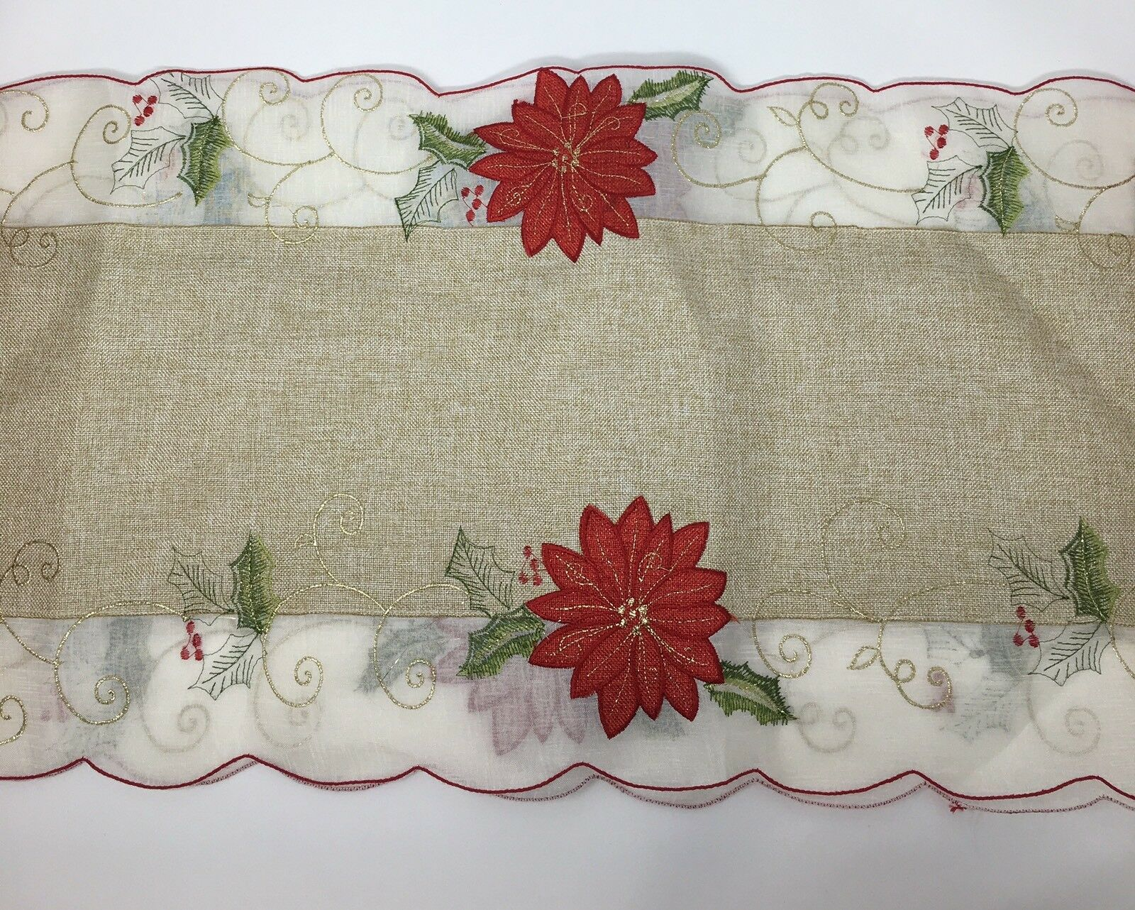 Home Wear Holiday Collection Poinsettia Placemat Table Runner Set 14 X 72