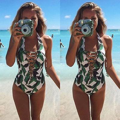 Mujeres Monokini Push Up Bañador Bikini One Piece Swimwear Verde