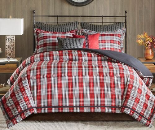 LODGE CABIN RED BLACK WOVEN JACQUARD BEDDING RED PLAID 4pc Queen COMFORTER SET