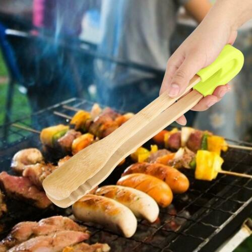 Wooden BBQ Grilling Tong Salad Bread Steak Serving Non-Stick Kitchen Barbecue