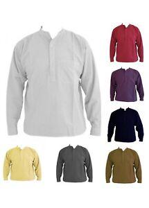 Plain-Pesados-Sin-Cuello-Mao-Camisa-tamanos-pequeno-y-2xl-14-Diferentes-Colores