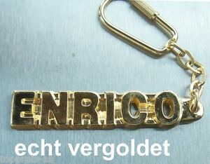 EDLER SCHLÜSSELANHÄN<wbr/>GER ENRICO VERGOLDET GOLD NAME KEYCHAIN WEIHNACHTSGESC<wbr/>HENK