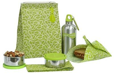 New~KIDS KONSERVE Waste-free LUNCH BAG  box stainless steel 6 pc SET green ECO