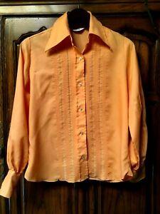 Vintage-Montgomery-Ward-Boho-Chic-Hippie-60-039-s-70-039-s-women-039-s-Tux-shirt-blouse