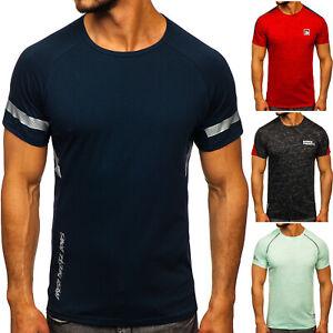 T-Shirt-Tee-Kurzarm-Rundhals-Aufdruck-Sport-Training-Herren-Mix-BOLF-Print-WOW