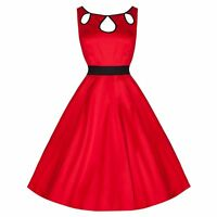 50s VINTAGE ROCKABILLY RED PROM COCKTAIL CEREMONY SWING PROM PARTY DRESS 8-18