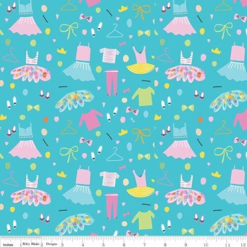 Ballerina Clothes Bows Aqua Riley Blake Fabric FQ Half Metre or More 100/% Cotton