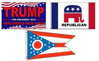 3x5 Trump 2016 & Republican & State Of Ohio Wholesale Set Flag 3'x5'