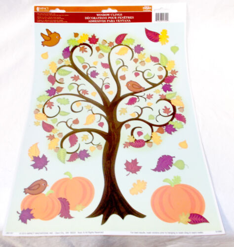 Impact Innovations Tree Fall Leaves Pumpkins Window Mirror Cling Clings Decor 1