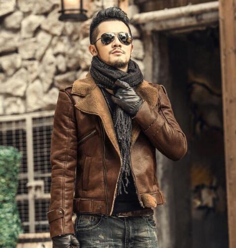 Mens Leisure Lapel Wool Fur Lined Biker Jacket Short Thicken Warm Parka 2019 Hot