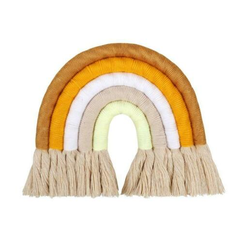 Woven Wall Hanging for Nursery and Home Decorate Hand-Woven Rainbow Wall Decor