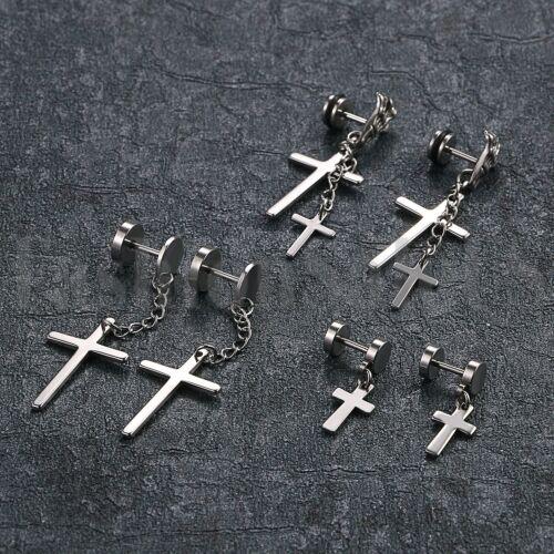 Hommes Femmes Acier Inoxydable Cercle Vis Clous Boucle d/'oreille avec Dangle Croix Cadeau 6pcs
