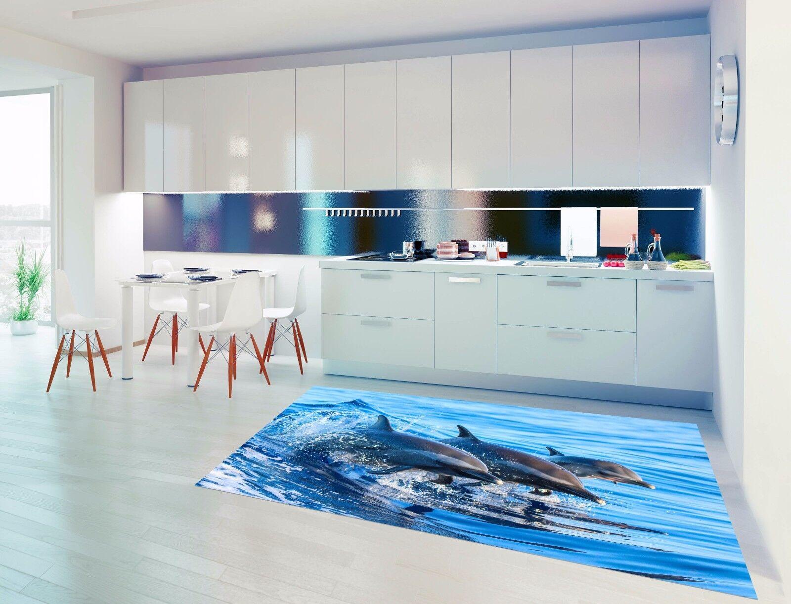3D Sea Dolphins 85 Kitchen Mat Floor Murals Wall Print Wall AJ WALLPAPER UK Kyra