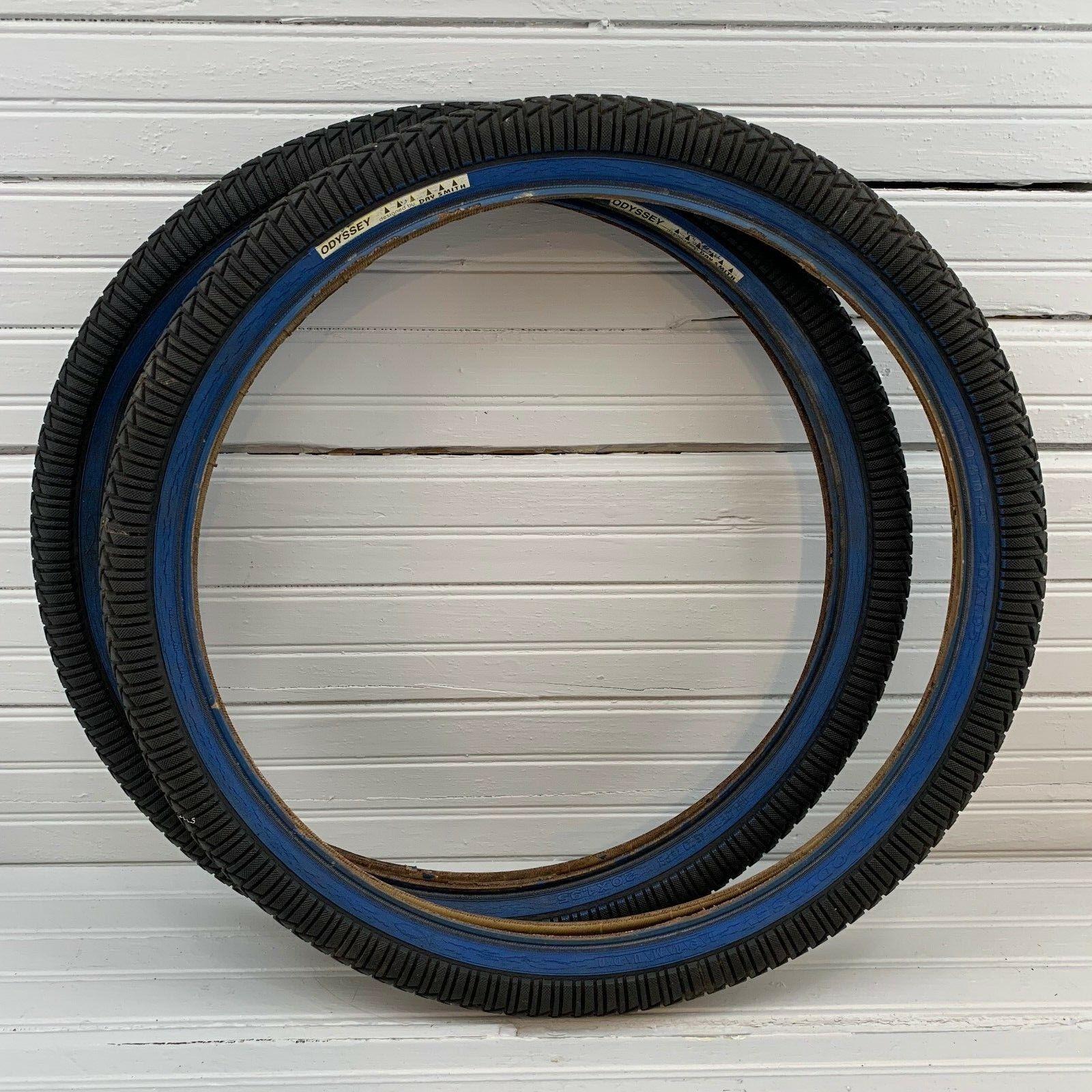 1999 Odyssey Bermuda Day Smith 20x1.95 Tires  bluee Stripe Mid School BMX Hoffman