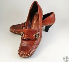 Womens NICKELS Pumps Size 6.5 Brown Leather  Moccasins Stitching Shoes Heels