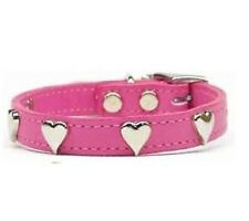 Dog Heart Studs Leather Collar  Red Pink studded
