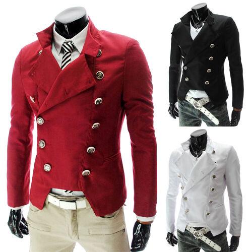Trendy Men's Slim fit Casual Pea coat Double Breasted Blazer Jacket Outwear XS-L